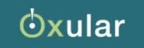 oxular logo with blue background